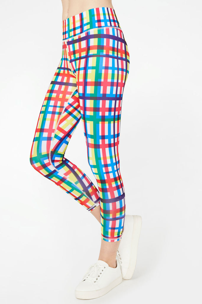 Technicolor Plaid Tall Band Capris