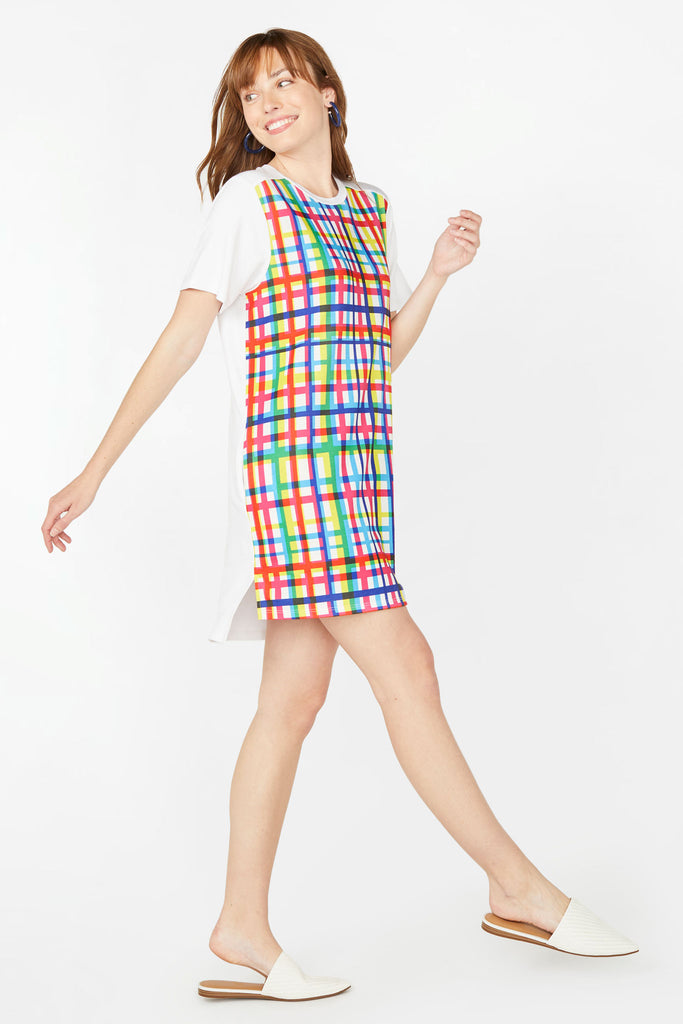 Technicolor Plaid T-Shirt Dress