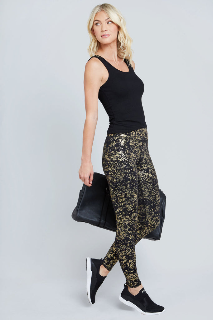 Starry Night Gold Foil Tall Band Leggings
