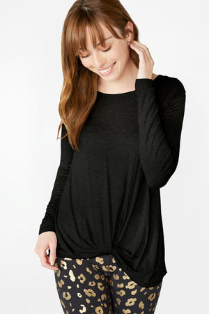 Black Twist Front Long Sleeve