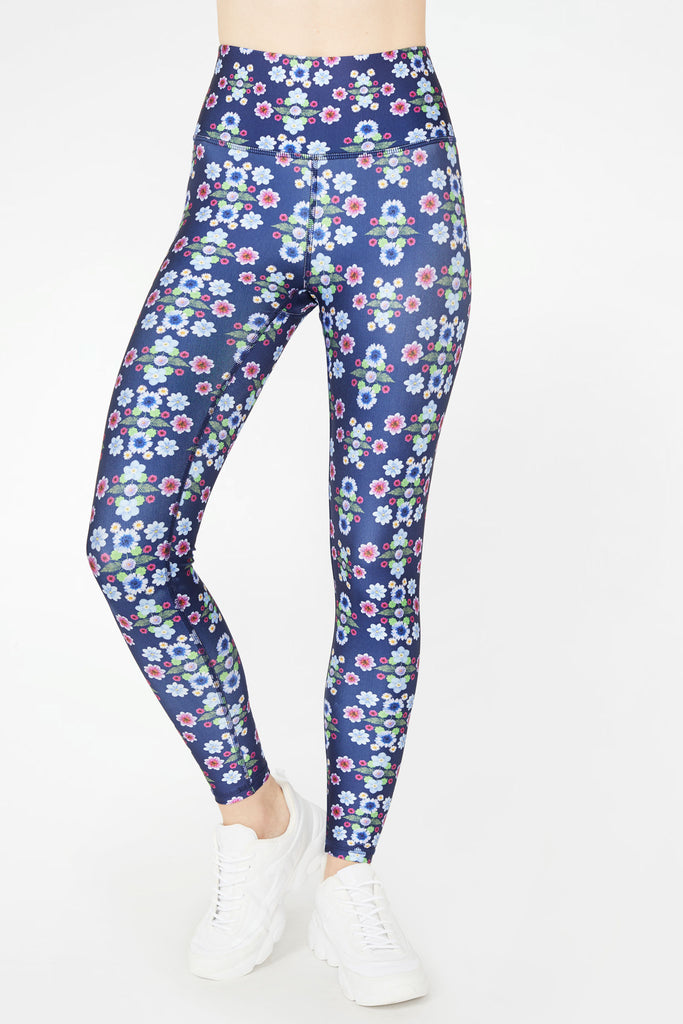 Navy Floral Dream Super-High Band Leggings