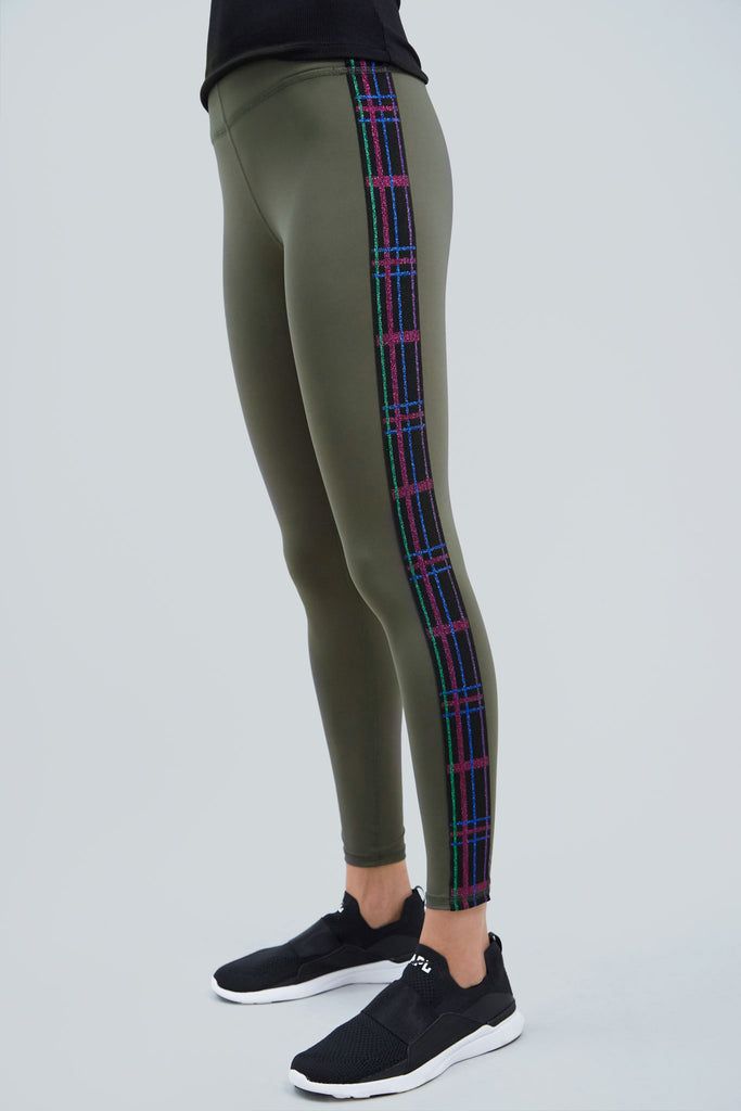 Full length, olive leggings with side panels of plaid