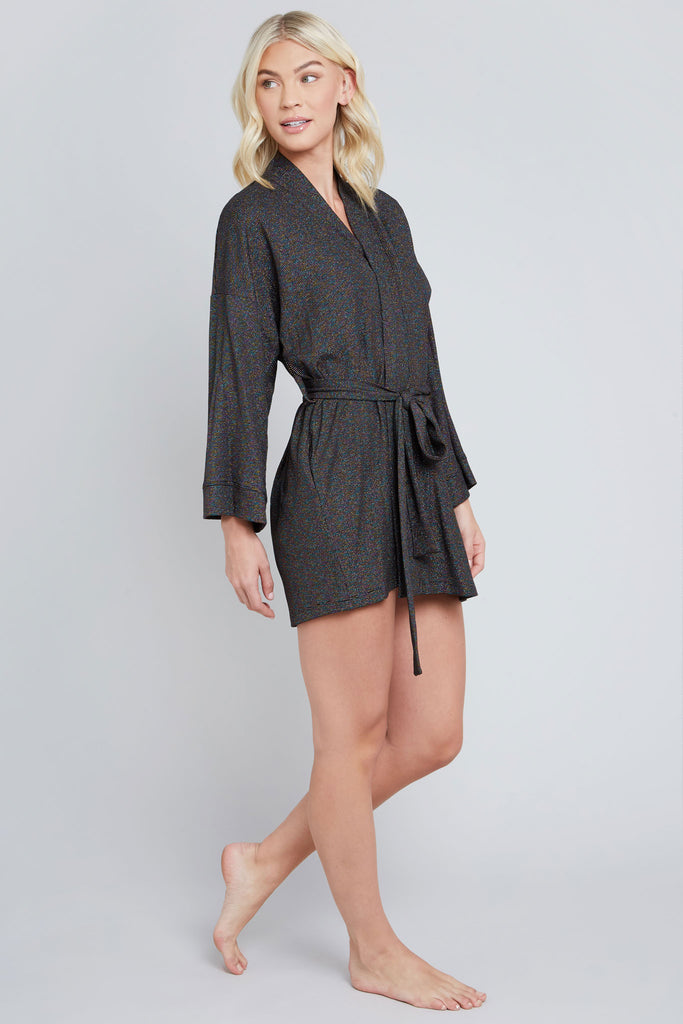 Black, rainbow shimmer, knit robe