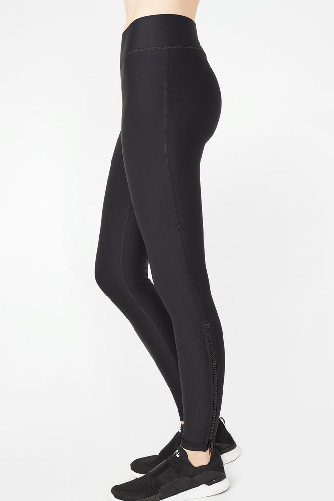 Black Zipper Tall Band Leggings