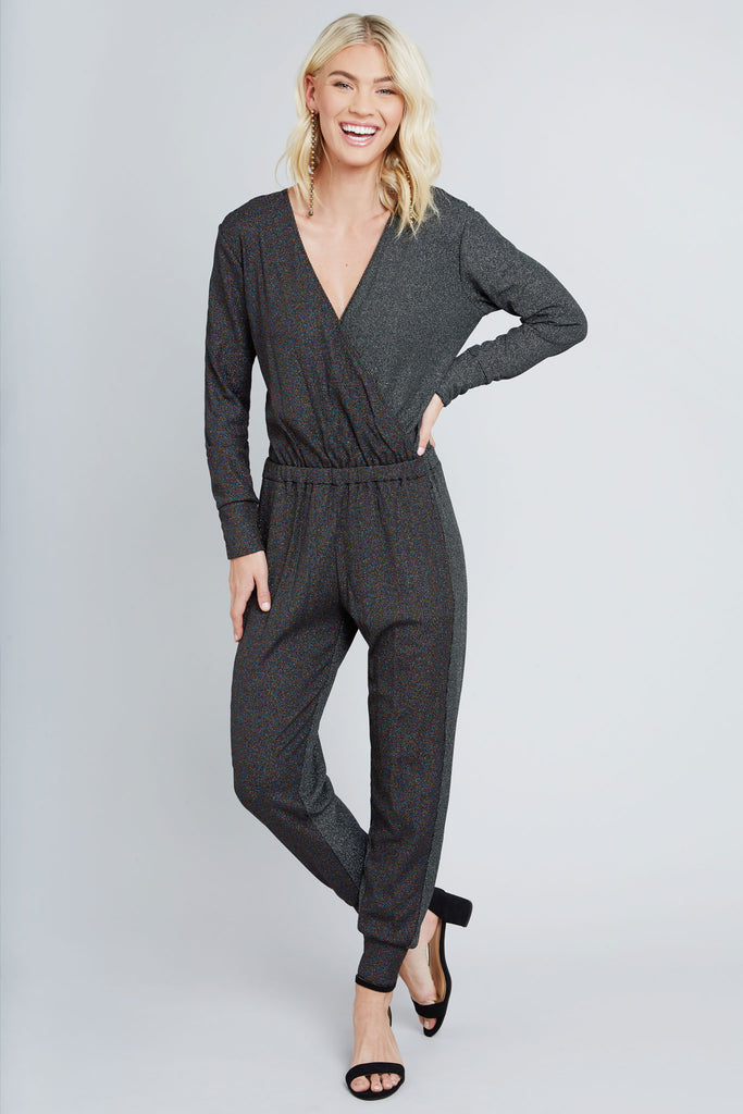 Black rainbow shimmer, and sliver shimmer colorblock, knit jumpsuit