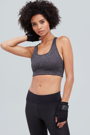 Black sports bra with glitter maze print