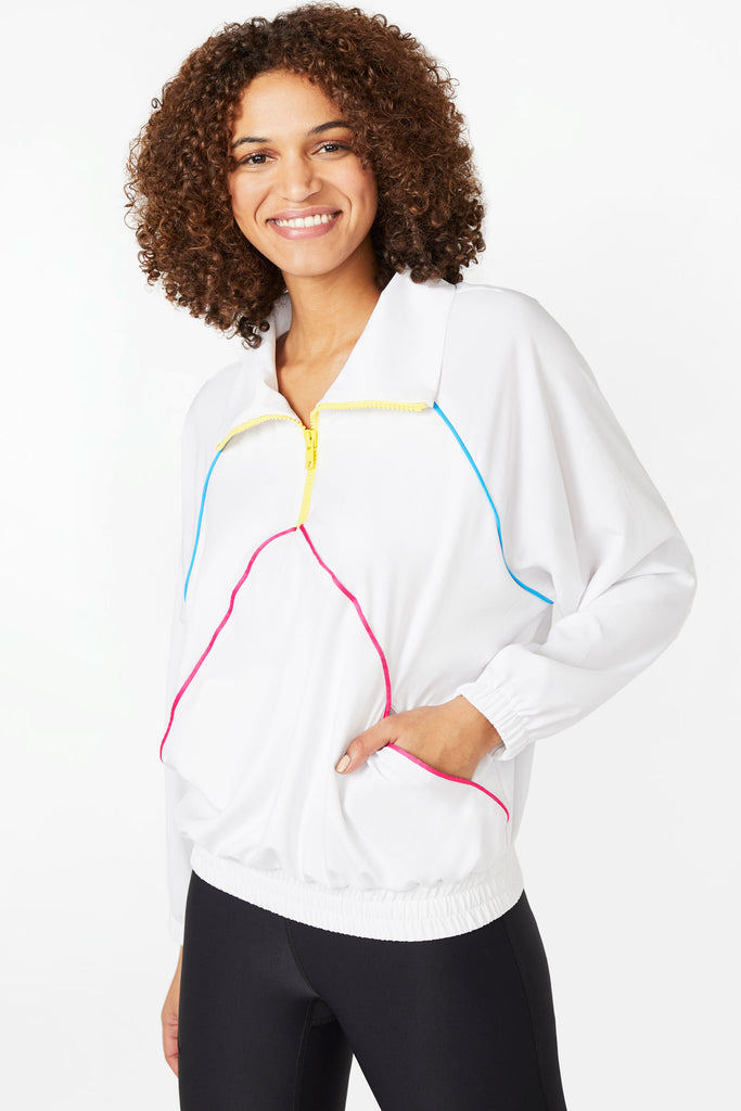 Neon Streak Quarter Zip Windbreaker in White