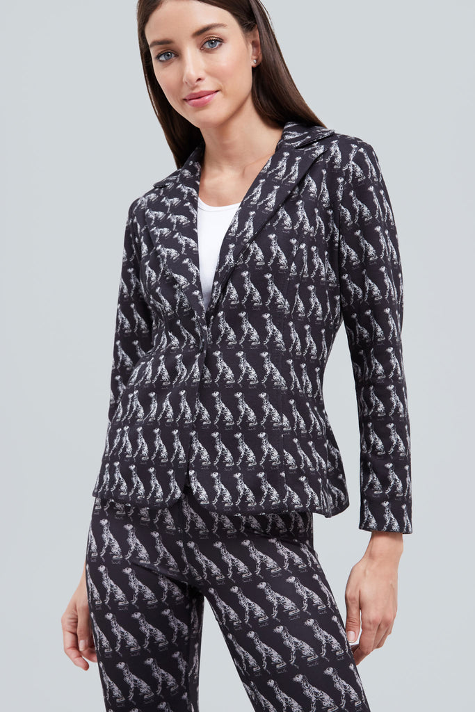 Black blazer with all over pattern of dalmation dogs