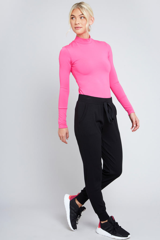 Cool Under Pressure Performance Mock Neck Top in Neon Pink