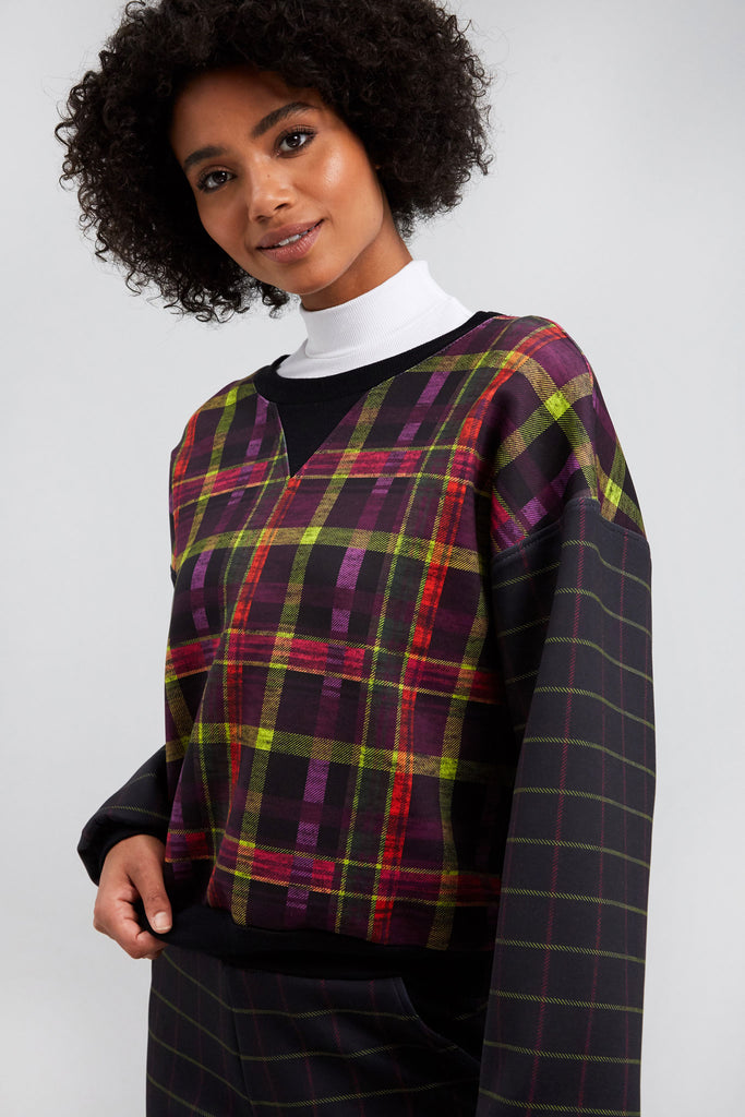 As If Plaid Scuba Sweatshirt