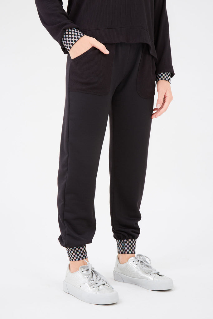 Girls Shimmer Trim Checkmate Jogger in Black