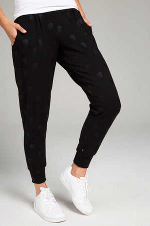Black Skull Foil French Terry Joggers