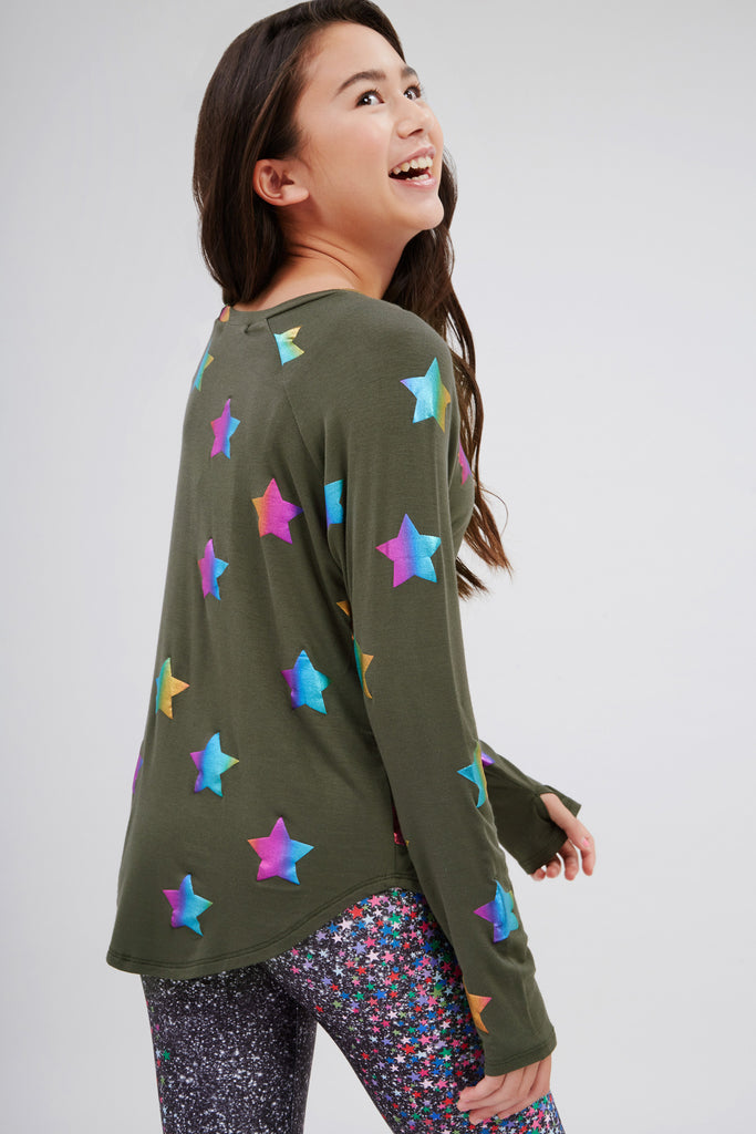 Girls Olive Rainbow Star Foil Baseball Tee