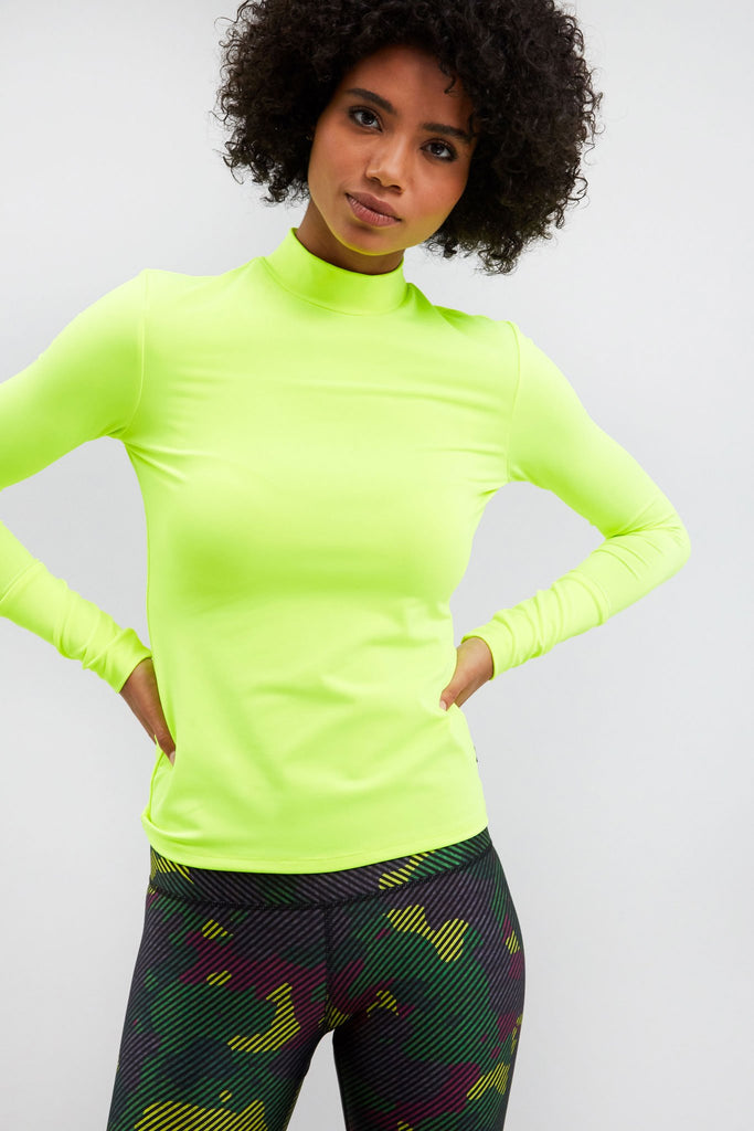 Cool Under Pressure Performance Mock Neck Top in Neon Green
