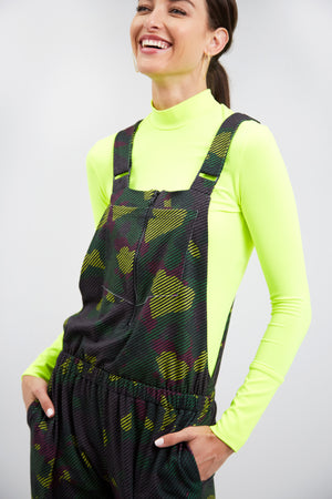 Green Striped Camo Zip Front Overalls