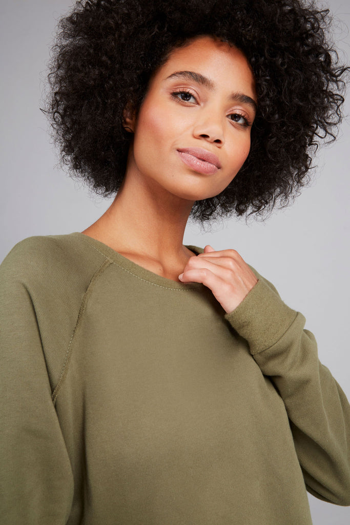 Cotton Fleece Sweatshirt in Olive