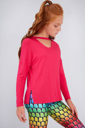 Girls Hot Pink V Long Sleeve