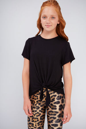 Girls Black Tie Front Tee