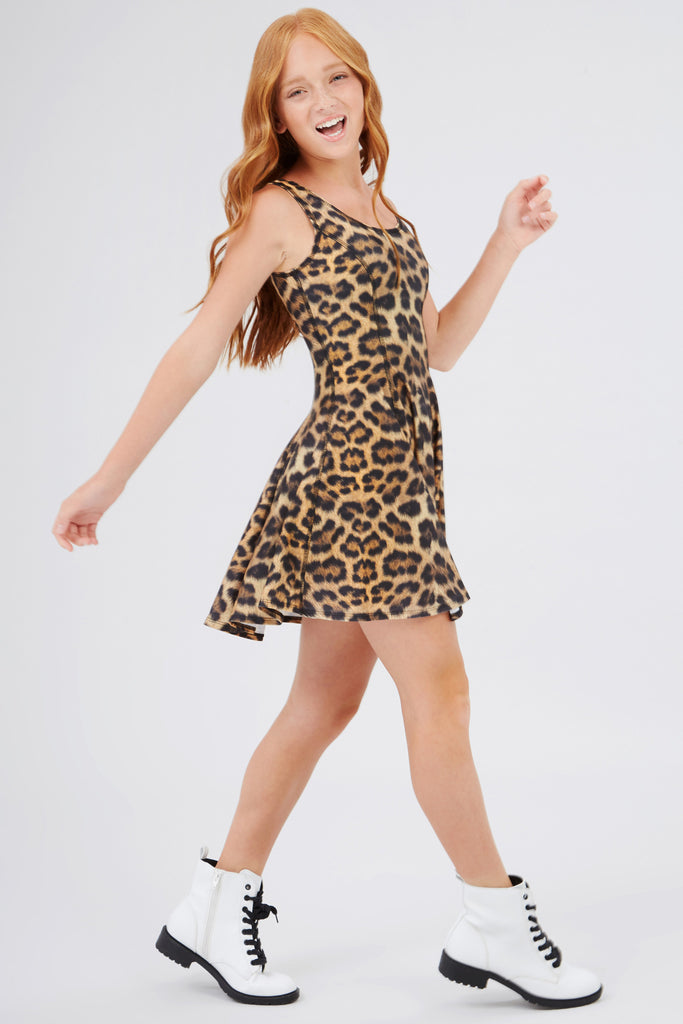 Girls Leopard Goals Skater Dress