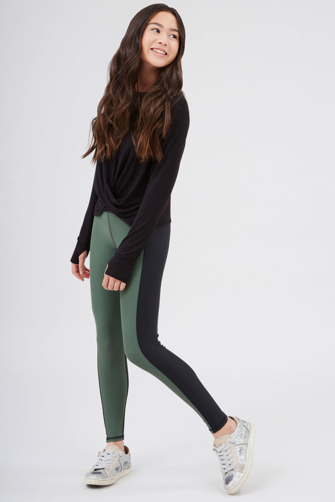 Girls Olive Colorblock Leggings