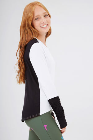 Girls White & Black Ruched Sleeve