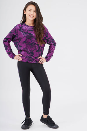 Girls Fuschia Camo Foil Sweatshirt