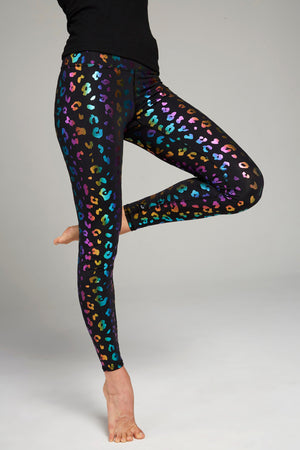 Full length, high rise, black legging with rainbow foil cheetah print