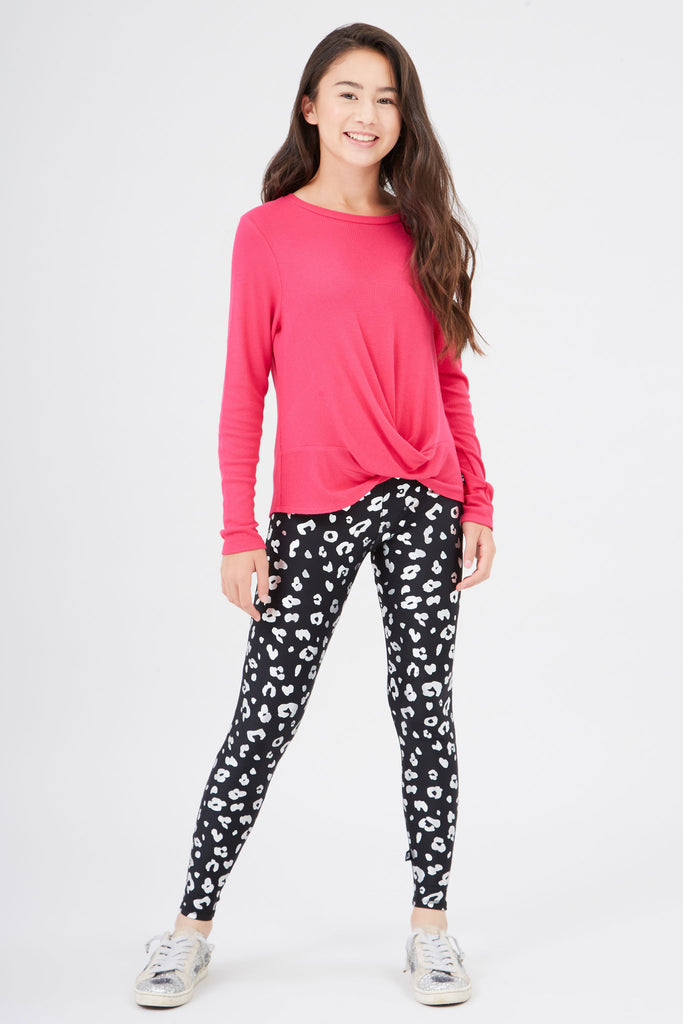 Girls Silver Foil Cheetah Leggings