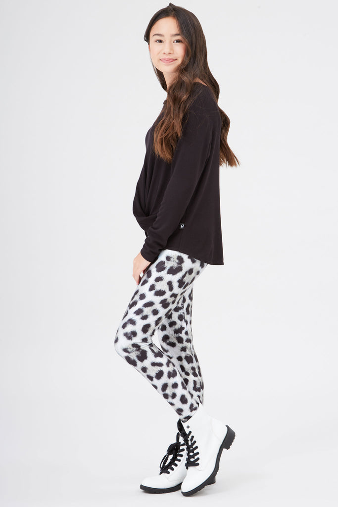 Girls Snow Leopard Leggings