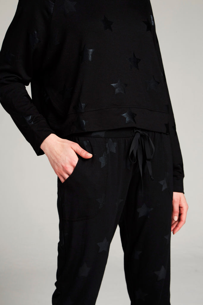 Black Star Foil Joggers by Terez