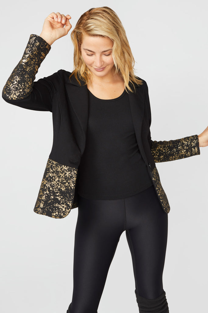 Starry Night Gold Foil Blazer