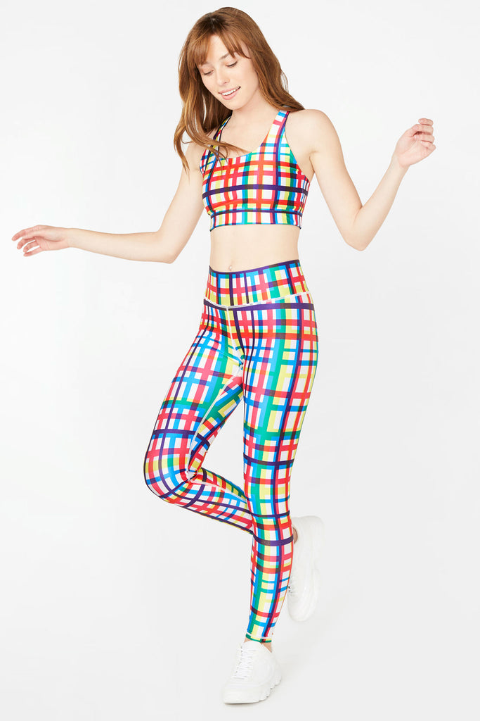 Technicolor Plaid Tall Band Leggings