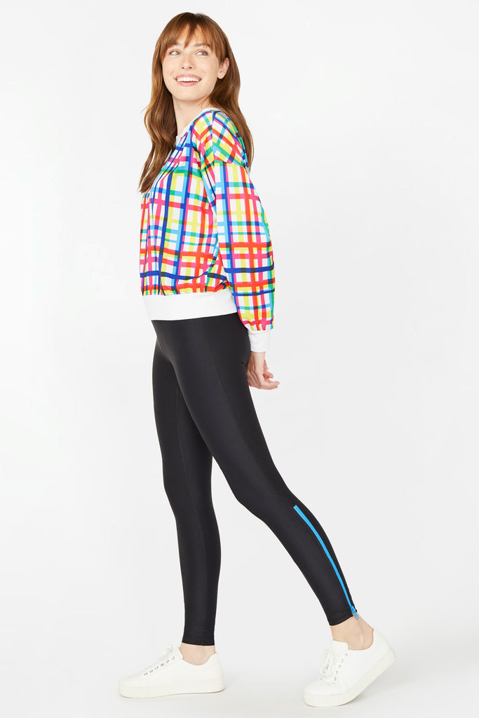 Neon Streak Cyan Zipper Tall Band Leggings