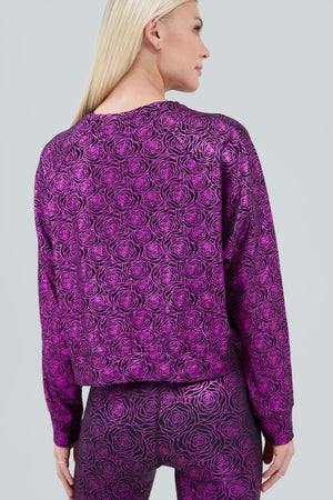 Crewneck with all over print of fuschia rose foil