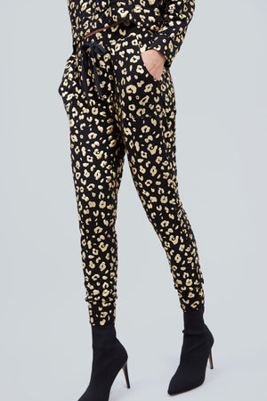 Gold Cheetah Foil Joggers