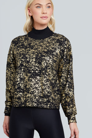 Black crewneck with gold foil dusting all over