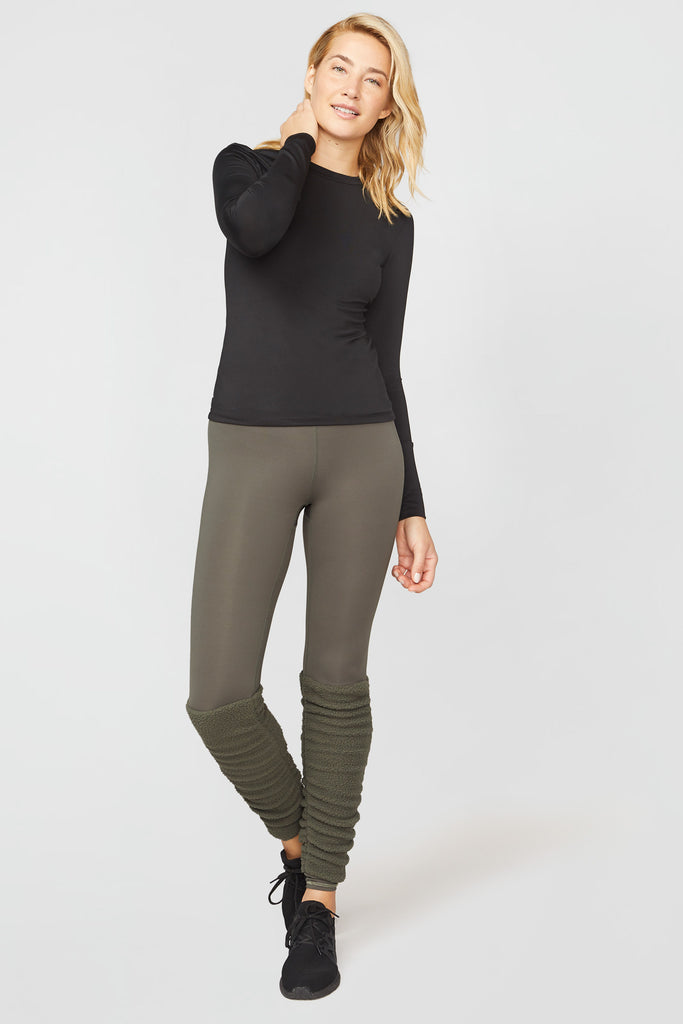 Olive Cozy Up Leg Warmer Leggings