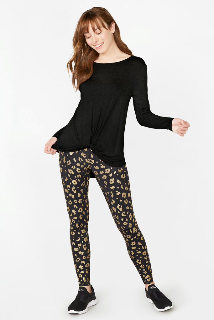 Gold Cheetah Foil Tall Band Leggings