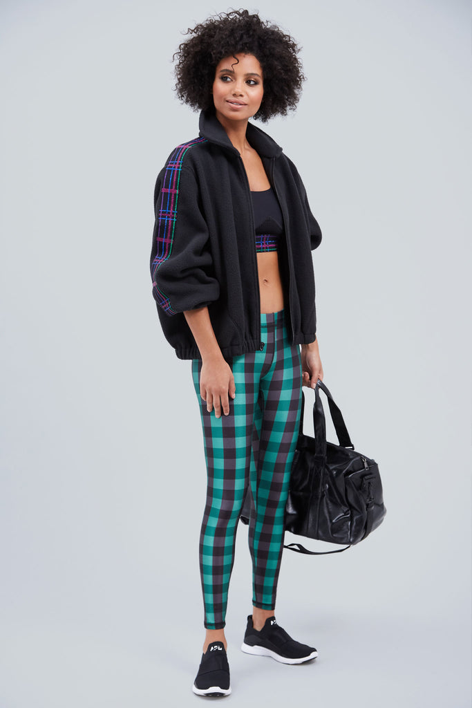 Green and navy plaid, full length legging