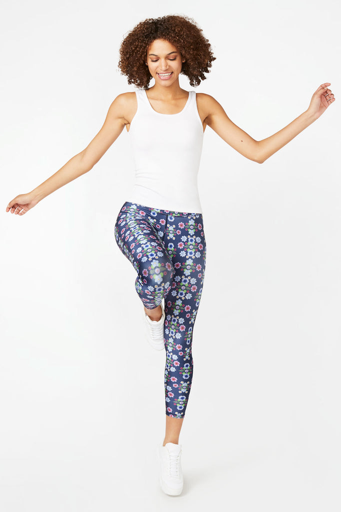 Navy Floral Fantasy Super-High Band Capris