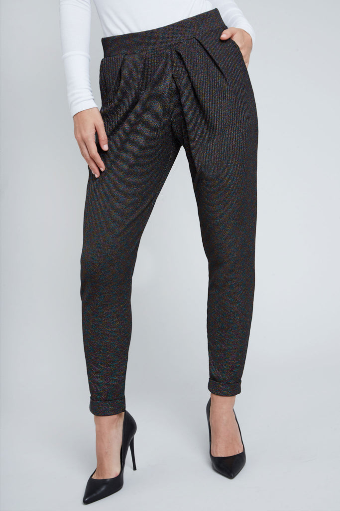 Black, rainbow shimmer, pleated, knit pant