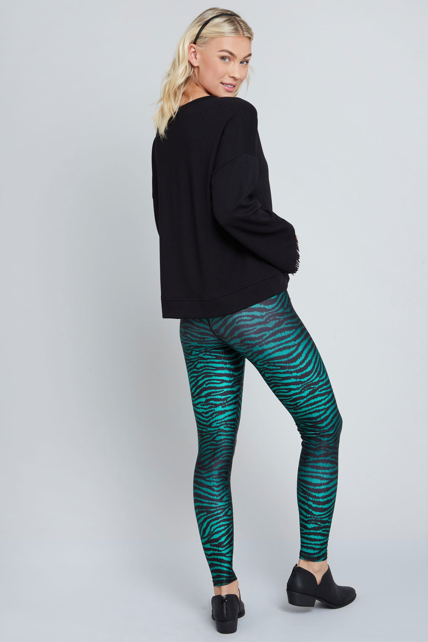 Deep green, metallic, tiger print, full length legging