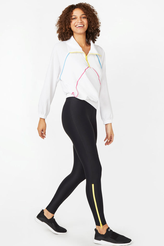 Neon Streak Yellow Zipper Tall Band Leggings