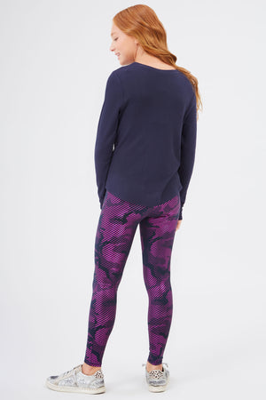 Girls Fuchsia Camo Foil Leggings