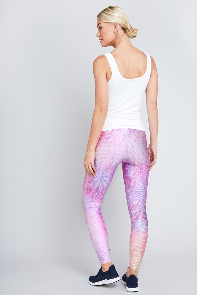 Full length legging with pink snakeskin pattern with hints of rainbow