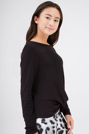 Girls Waffle Twist Front Long Sleeve in Black