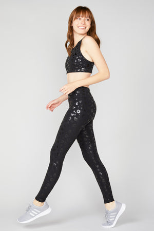 Black Cheetah Foil Tall Band Leggings