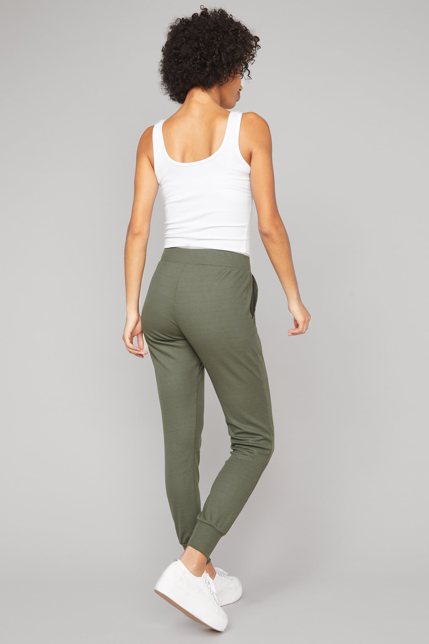 Full length, waffle knit jogger in olive