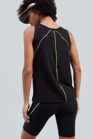 Black, muscle tank top with neon green piping