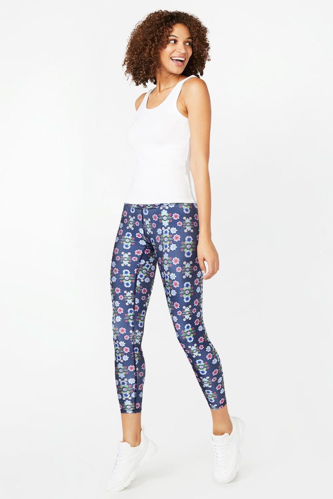 Navy Floral Dream Super-High Band Capris